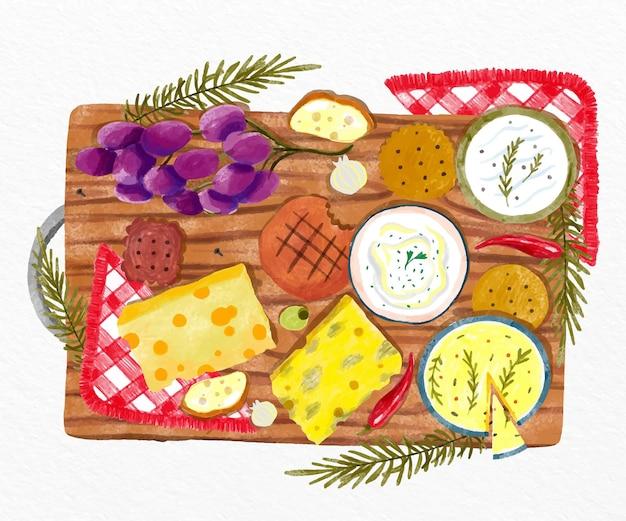 Vista dall'alto del tagliere di formaggio dell'acquerello