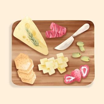 Tagliere di formaggi dell'acquerello