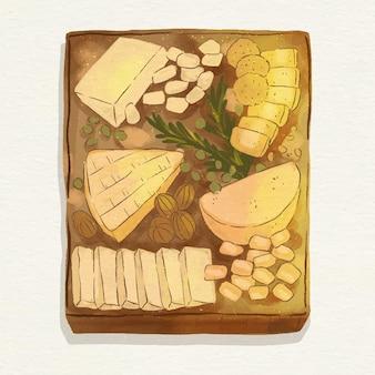 伴奏と水彩のチーズボードのイラスト