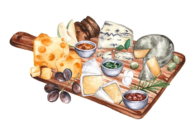 반주와 함께 수채화 치즈 보드 그림