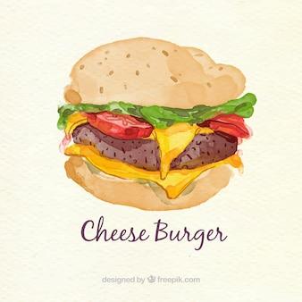 Watercolor cheeseburger background