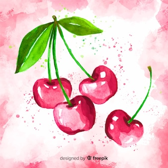 Watercolor cherries background