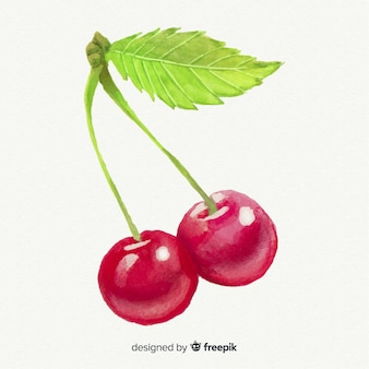 Watercolor cherry background
