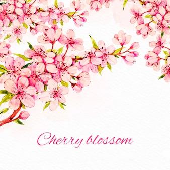 수채화 벚꽃 배경
