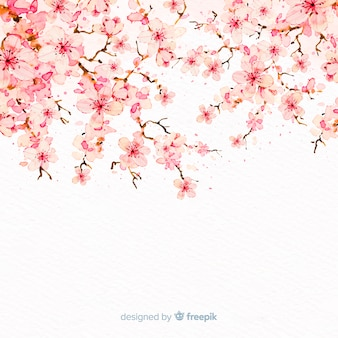 Watercolor cherry blossom branch background