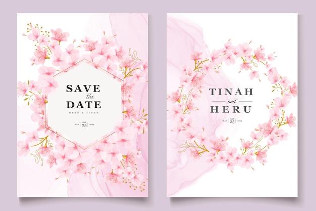 Акварель сакуры цветочные и листья набор карт