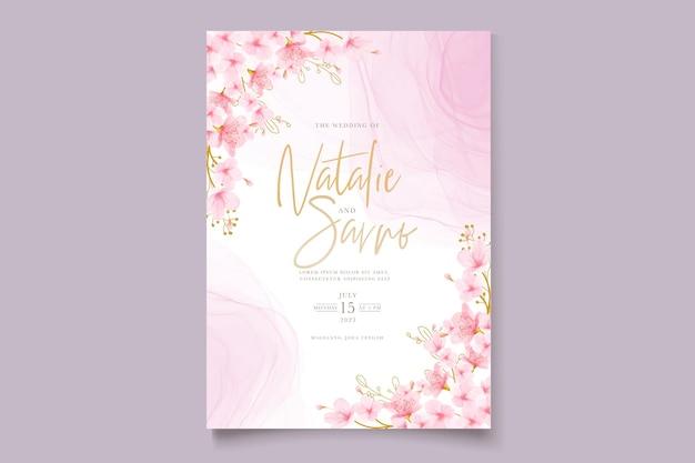 수채화 벚꽃 꽃과 잎 카드 세트