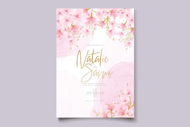 水彩の桜の花と葉のカードセット