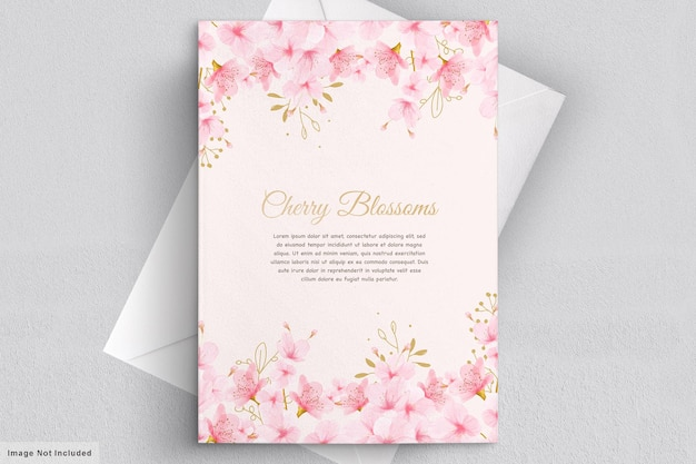 Watercolor cherry blossom floral invitation card