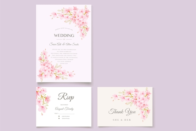 Watercolor cherry blossom floral and leaves card set