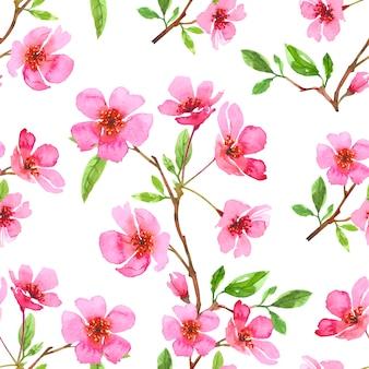 수채화 벚꽃 꽃 원활한 패턴입니다. 사쿠라 아름 다운 봄 꽃 템플릿입니다. 다채로운 그림 흰색 배경에 고립입니다.