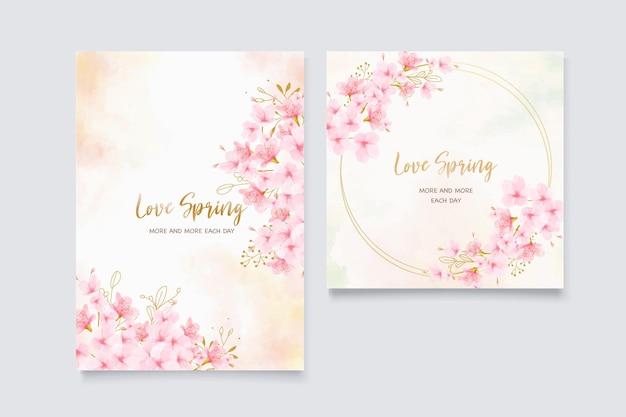 Watercolor cherry blossom invitation card set