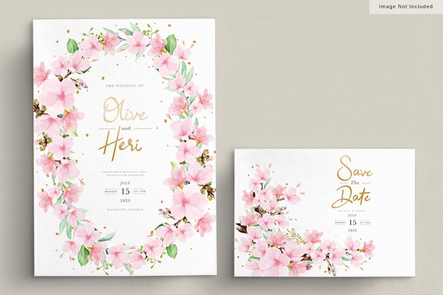 Watercolor cherry blossom invitation card template