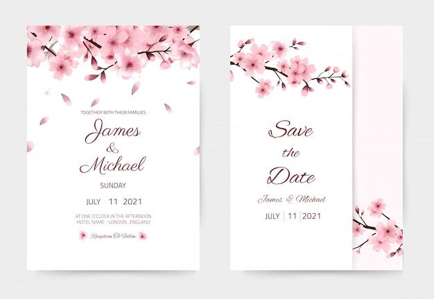 Акварель сакуры свадебные приглашения. красивый и современный дизайн. может использоваться как держатель карты. цветок сакуры