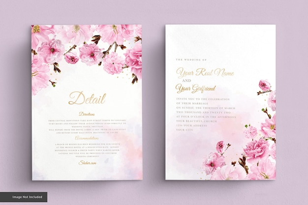Watercolor cherry blossom wedding invitation card set