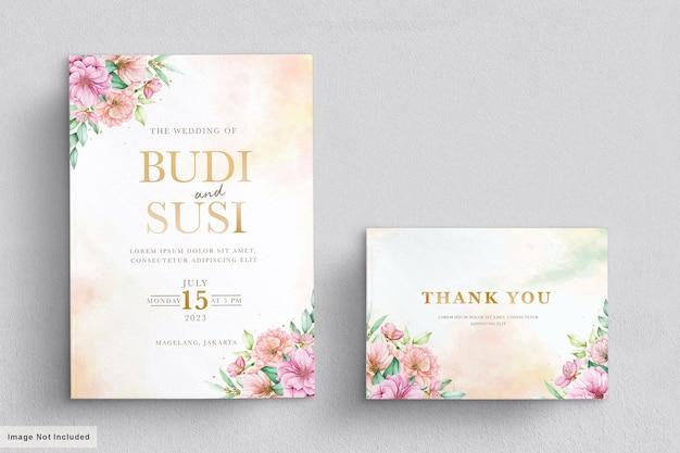 Insieme della carta dell'invito di nozze del fiore di ciliegia dell'acquerello