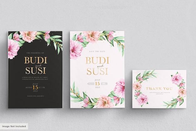 Акварель сакуры свадебные приглашения набор карт