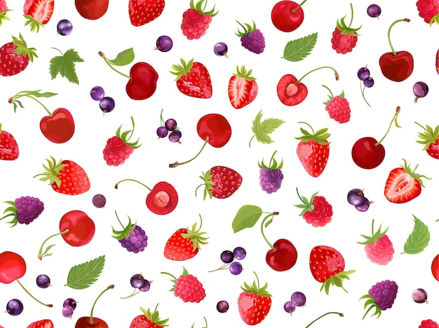 Watercolor cherry, strawberry, raspberry, black currant seamless pattern. summer berries, fruits, leaves, flowers background. vector illustration for spring cover, tropical wallpaper texture, backdrop