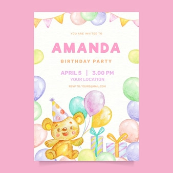 Watercolor children birthday invitation with balloons