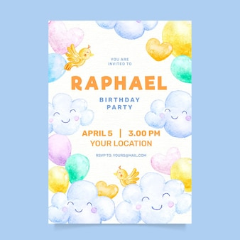 水彩画の子供の誕生日の招待状