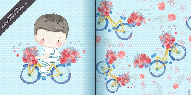 Watercolor children in illustration and seamless pattern set.