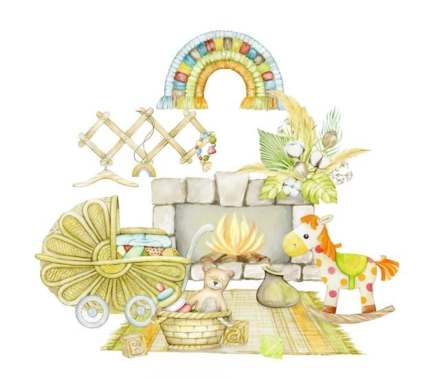 水彩画の子供向けの居心地の良い自由奔放に生きるスタイルの部屋。