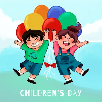 Watercolor children's day wallpaper