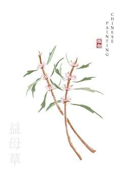 植物の水彩中国インクペイントアートイラスト