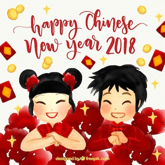Watercolor chinese new year background