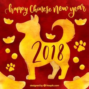 Priorità bassa cinese di nuovo anno dell'acquerello