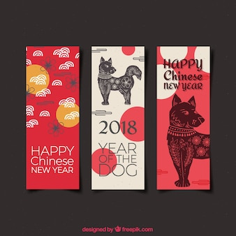 Watercolor chinese new year banners