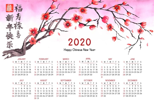 Watercolor chinese new year calendar