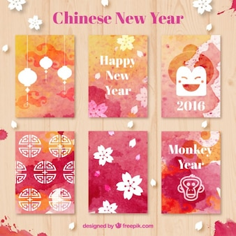 Watercolor chinese new year cards