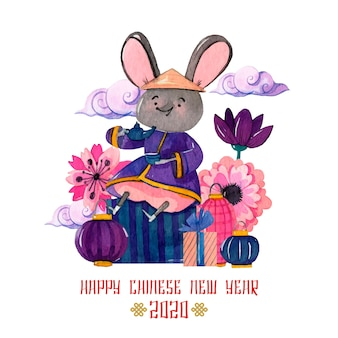 Watercolor chinese new year concept