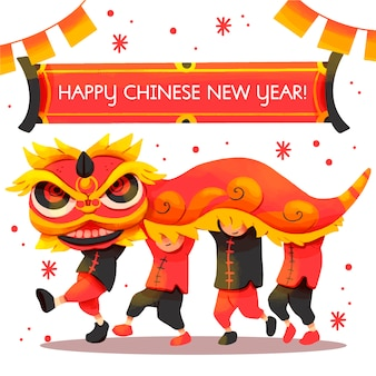 Watercolor chinese new year
