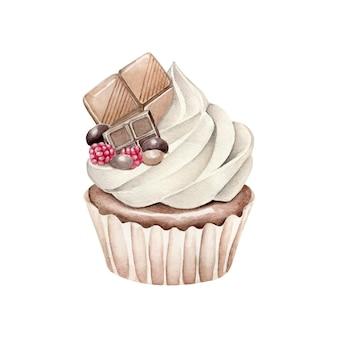흰색 배경에 고립 수채화 초콜릿 먹고