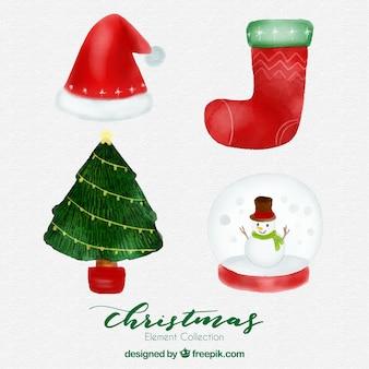 Акварельные аксессуары для рождества