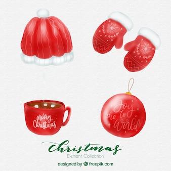 Набор акварельных рождественских аксессуаров
