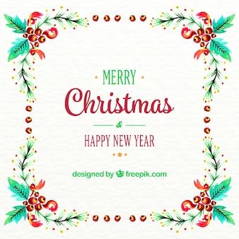 Акварели рождество и новый год фон с цветочным рамы
