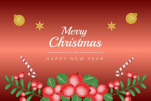 Акварель рождественский и новогодний венок цветочная рамка и фон вектор premium шаблон