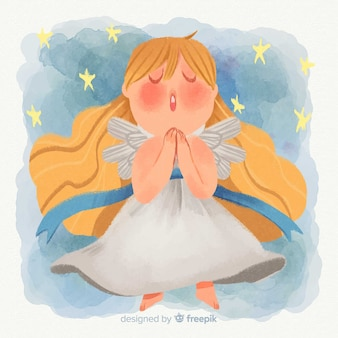 Watercolor christmas angel background