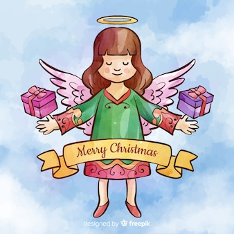 Watercolor christmas angel with presents background
