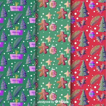 Watercolor christmas background collection