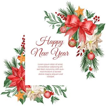 Cornice di sfondo natalizio ad acquerello con fiore di poinsettia, foglie e palla di luce natalizia