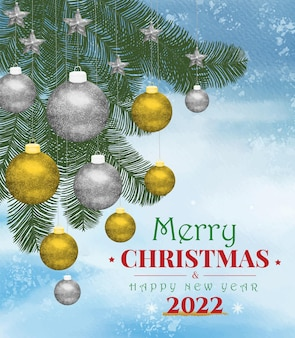 Watercolor christmas background and happy new year with leaves and ball