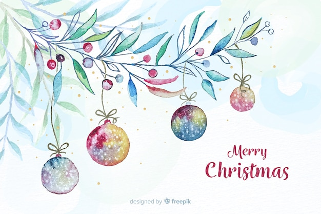 Watercolor christmas background with balls