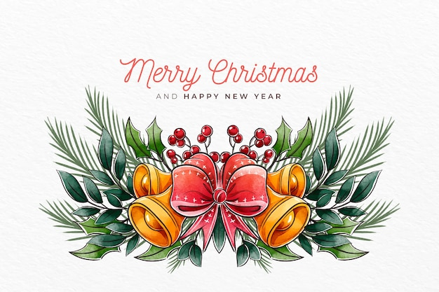 Watercolor christmas background with bells