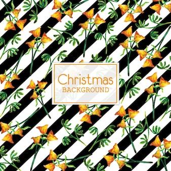 검은 줄무늬와 수채화 크리스마스 배경