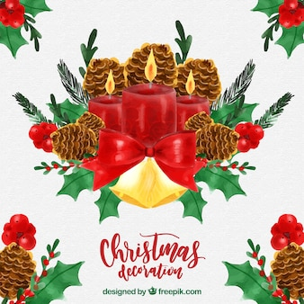 Watercolor christmas background with candles and decoration