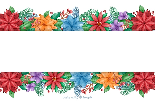 Watercolor christmas background with colorful flowers
